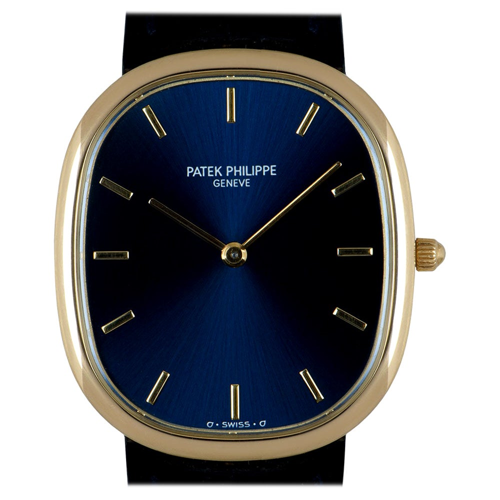 Patek Philippe Golden Ellipse Gents 18k Yellow Gold Sunburst Blue Dial 3738/100