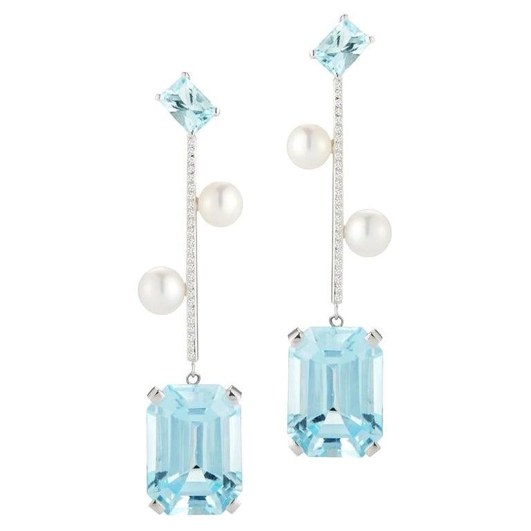 14 Karat White Gold Aquamarine Blue Topaz Pearl Drop Earrings