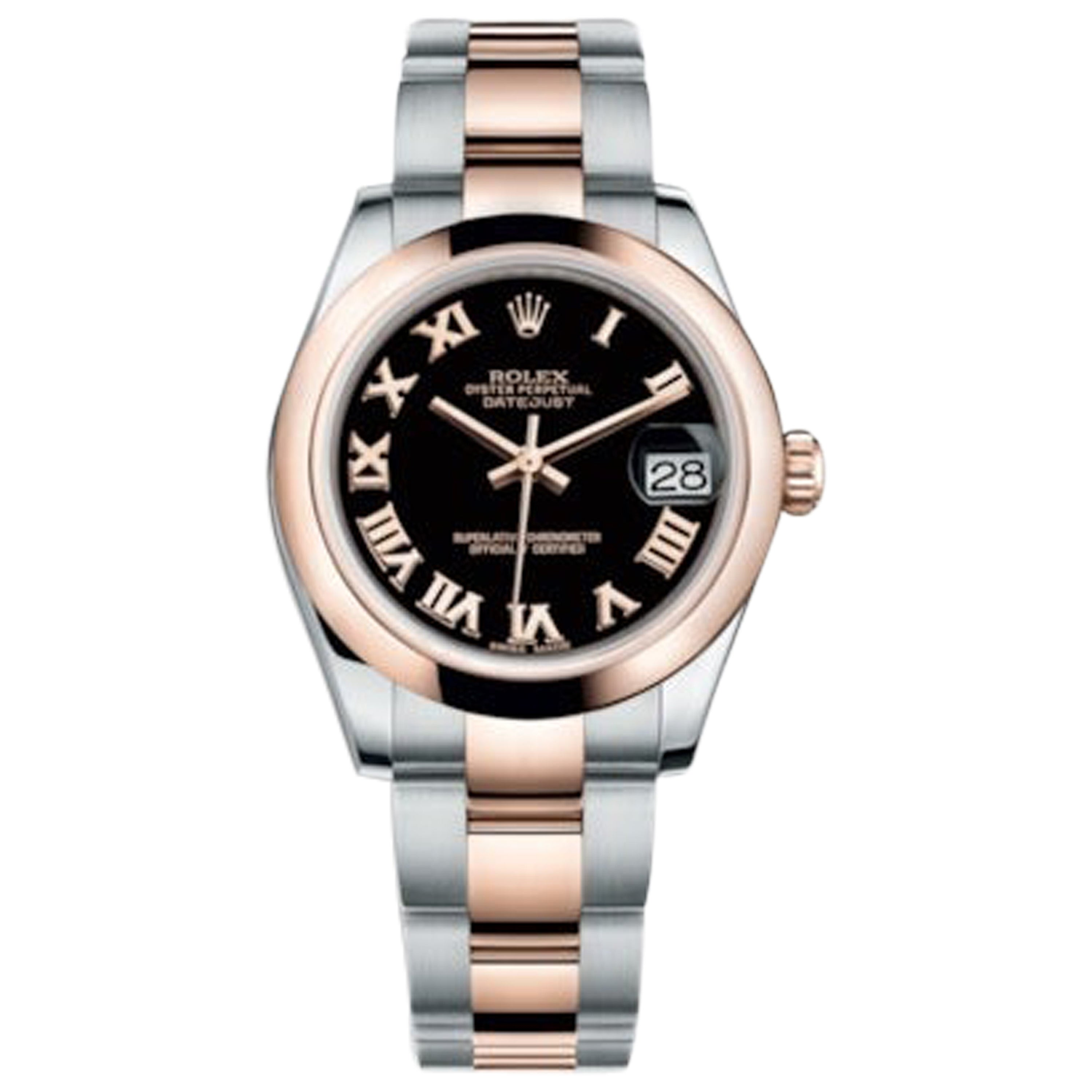 Rolex Datejust Stainless Steel and Rose Gold Ladies Watch 178241 Blk Roman