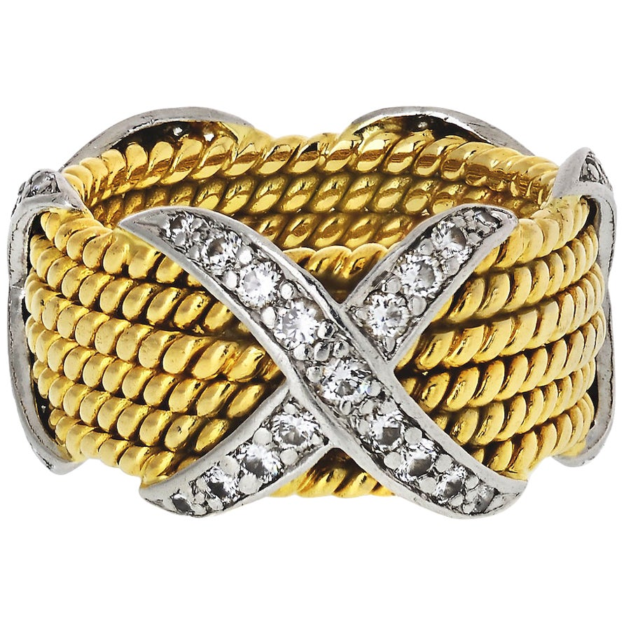 Tiffany & Co. Schlumberger X Six-Row 5 Rope Ring 18 Karat Yellow Gold Platinum