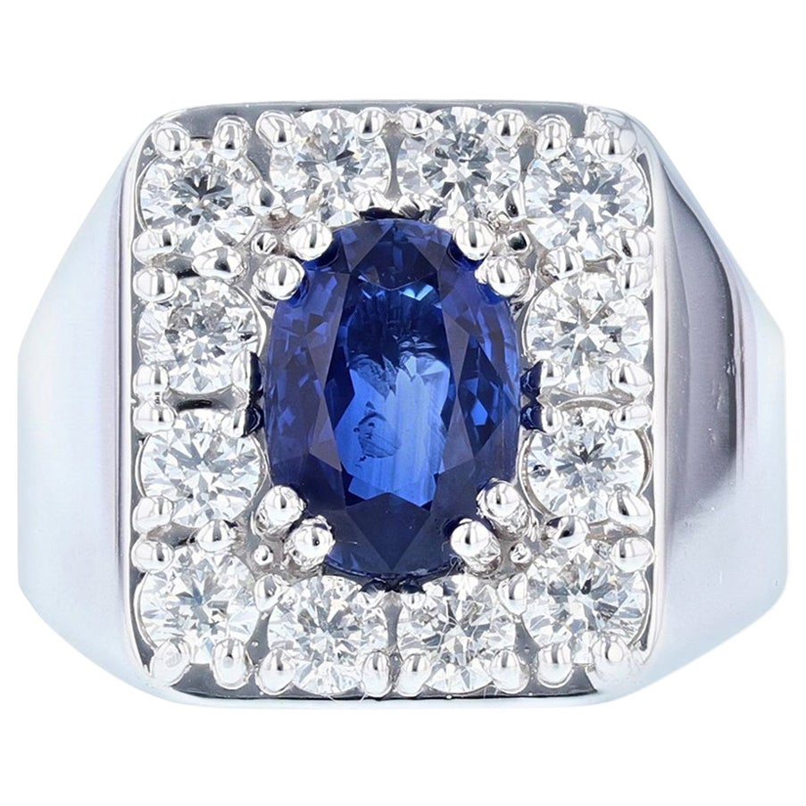 Men's GIA Certified 14 Karat Gold 4.05 Carat Oval Sapphire Diamond Ring