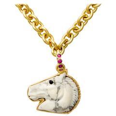 Howlite Onyx Sapphire Gold Horse Head Pendant