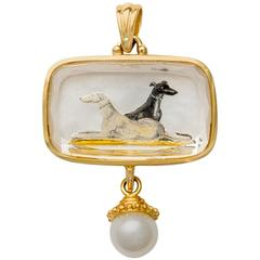 Reverse Crystal Pearl Gold Hand Painted Greyhound Portrait Pendant