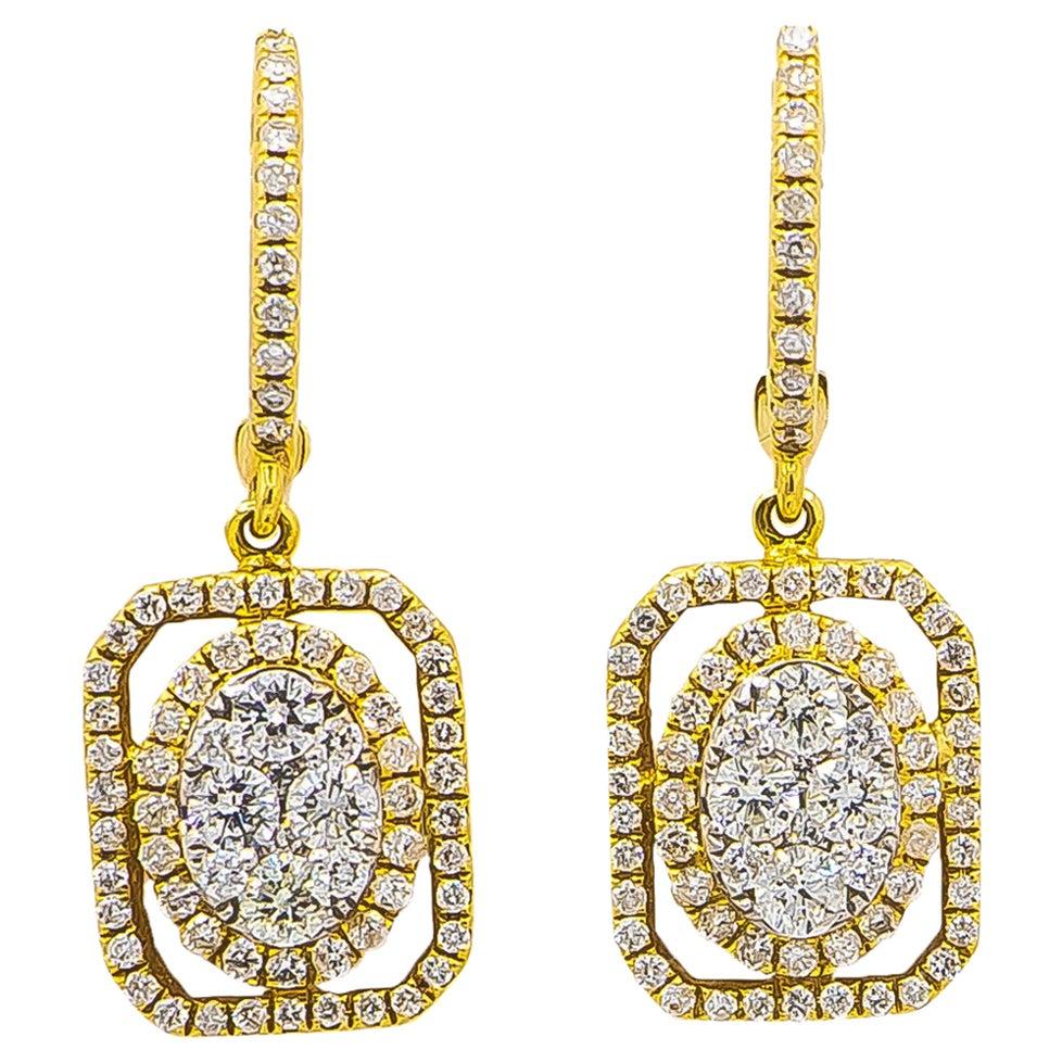 Diamond Earrings 1.20 Carat 18 Karat Yellow Gold