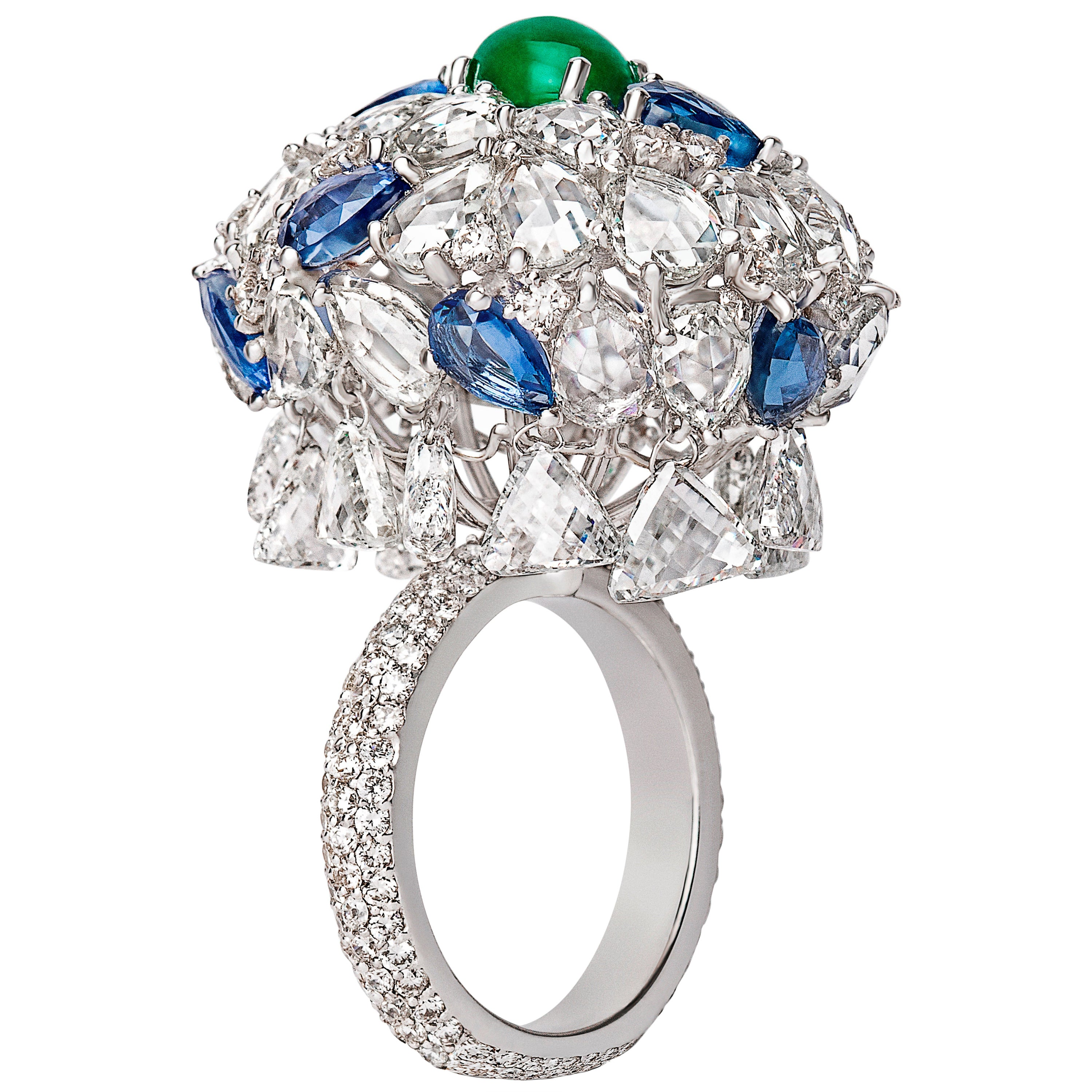 18 Karat White Gold, Rose Cut, Emerald and Sapphire Cocktail Ring