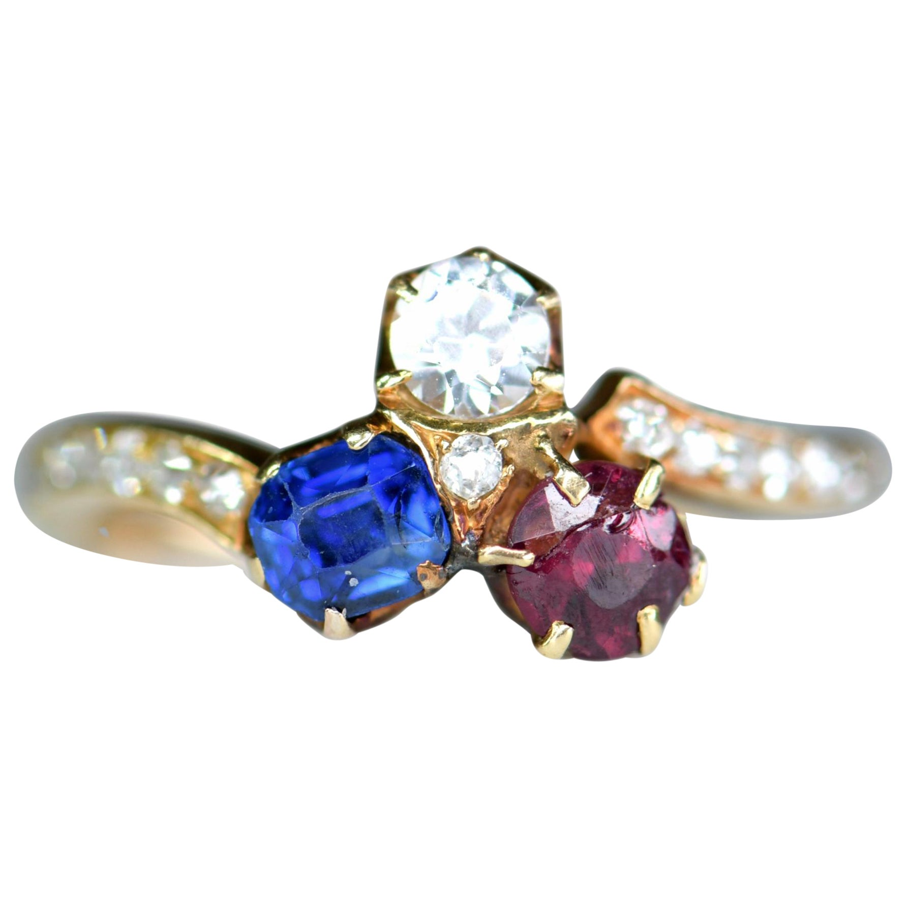 Victorian 18 Karat Gold Sapphire Ruby and Diamond Clover Antique Ring