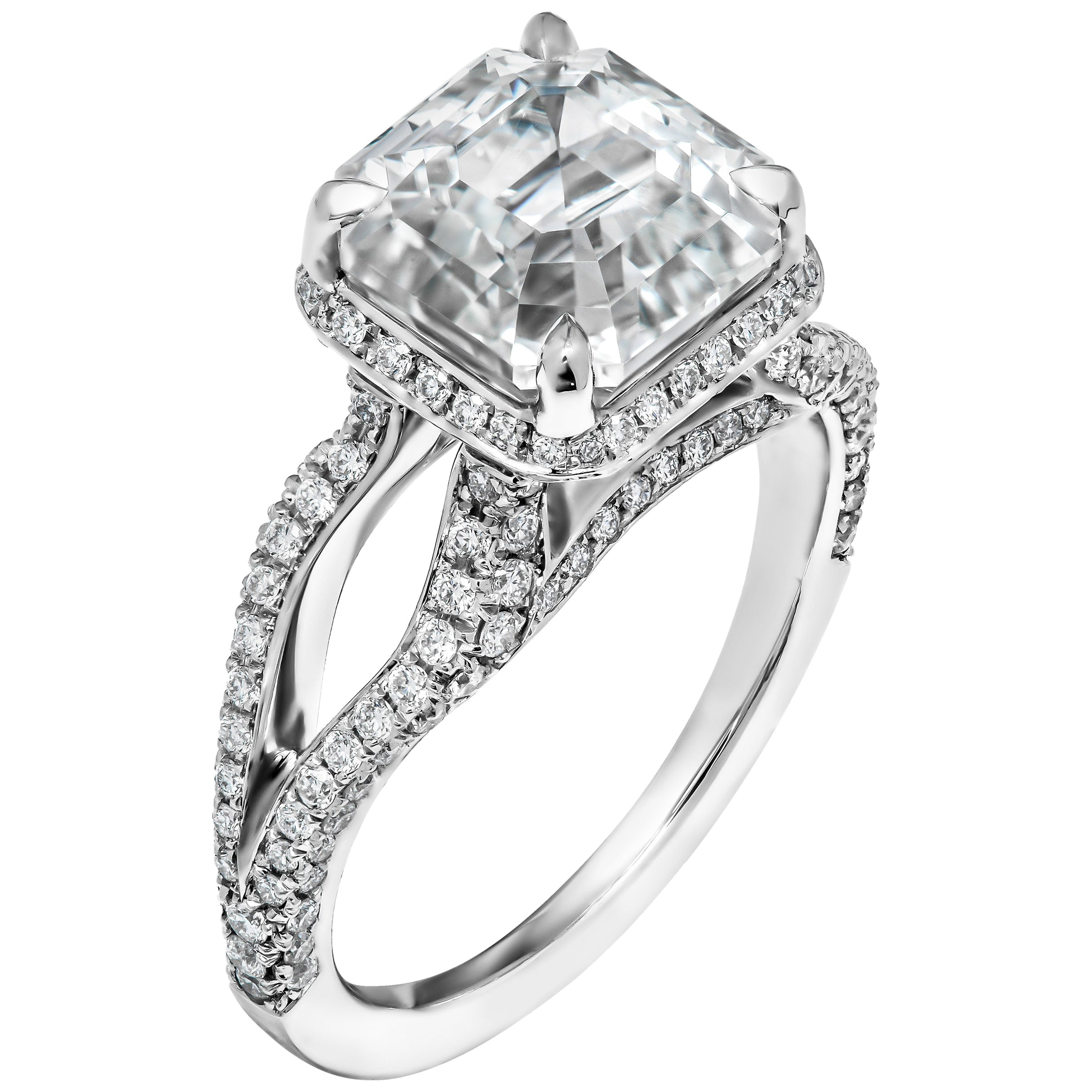 GIA Certified Ring with 4.78 Carat White Sapphire