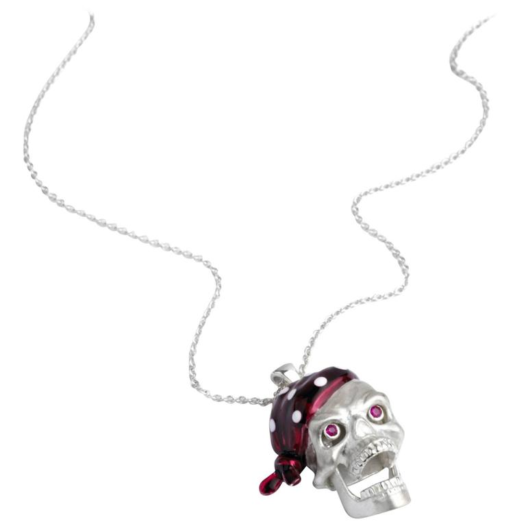 Deakin & Francis Ruby Silver Pirate Skull Pendant For Sale