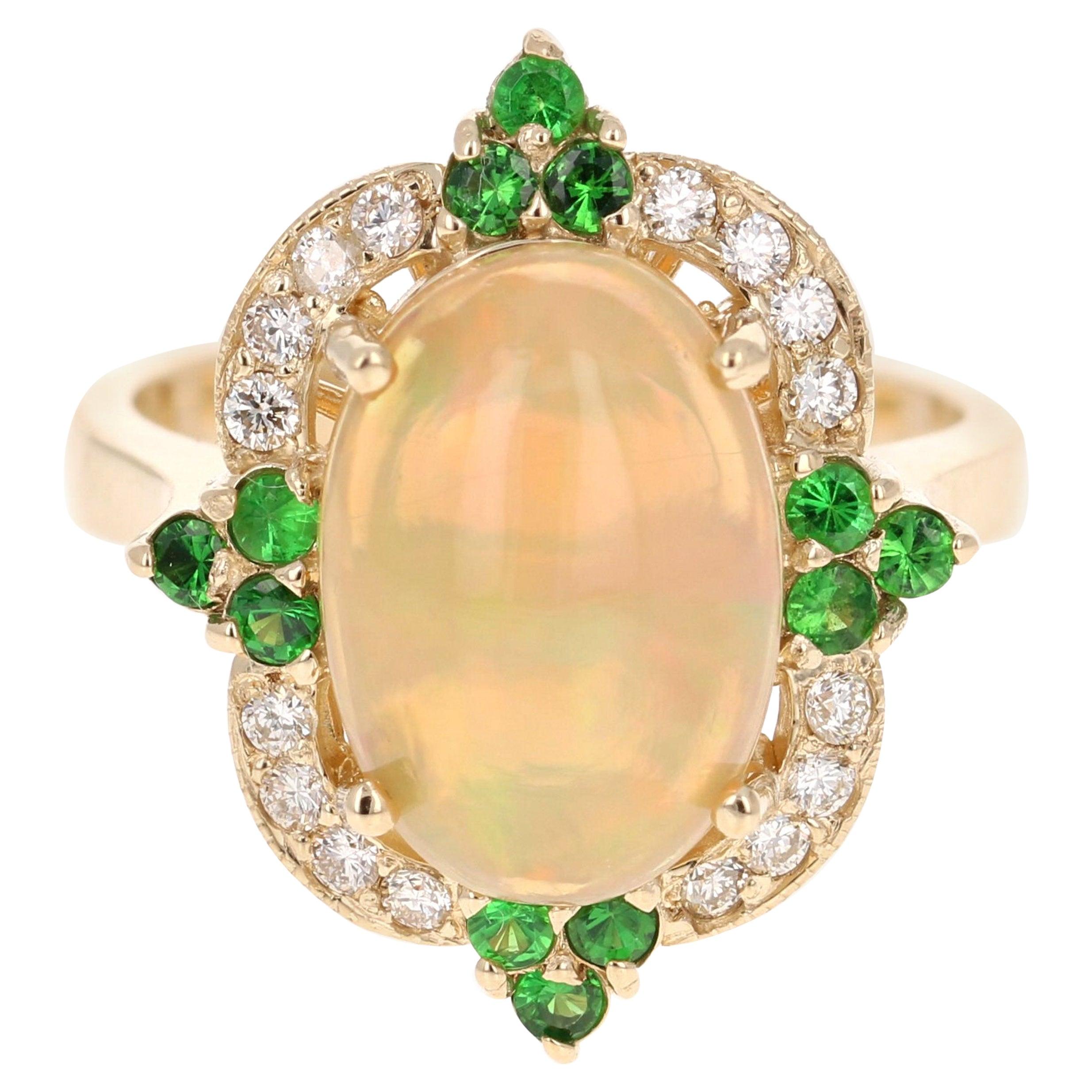 3.42 Carat Opal Tsavorite Diamond Cocktail Ring 14 Karat Yellow Gold
