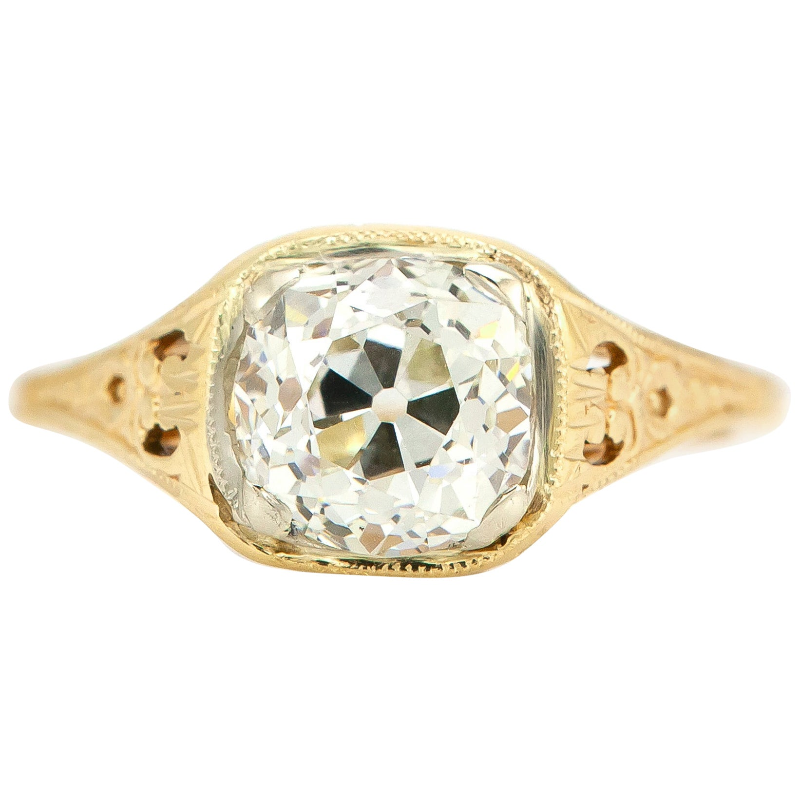Art Deco 1.56 Carat Old Mine Cushion Diamond Engagement Ring