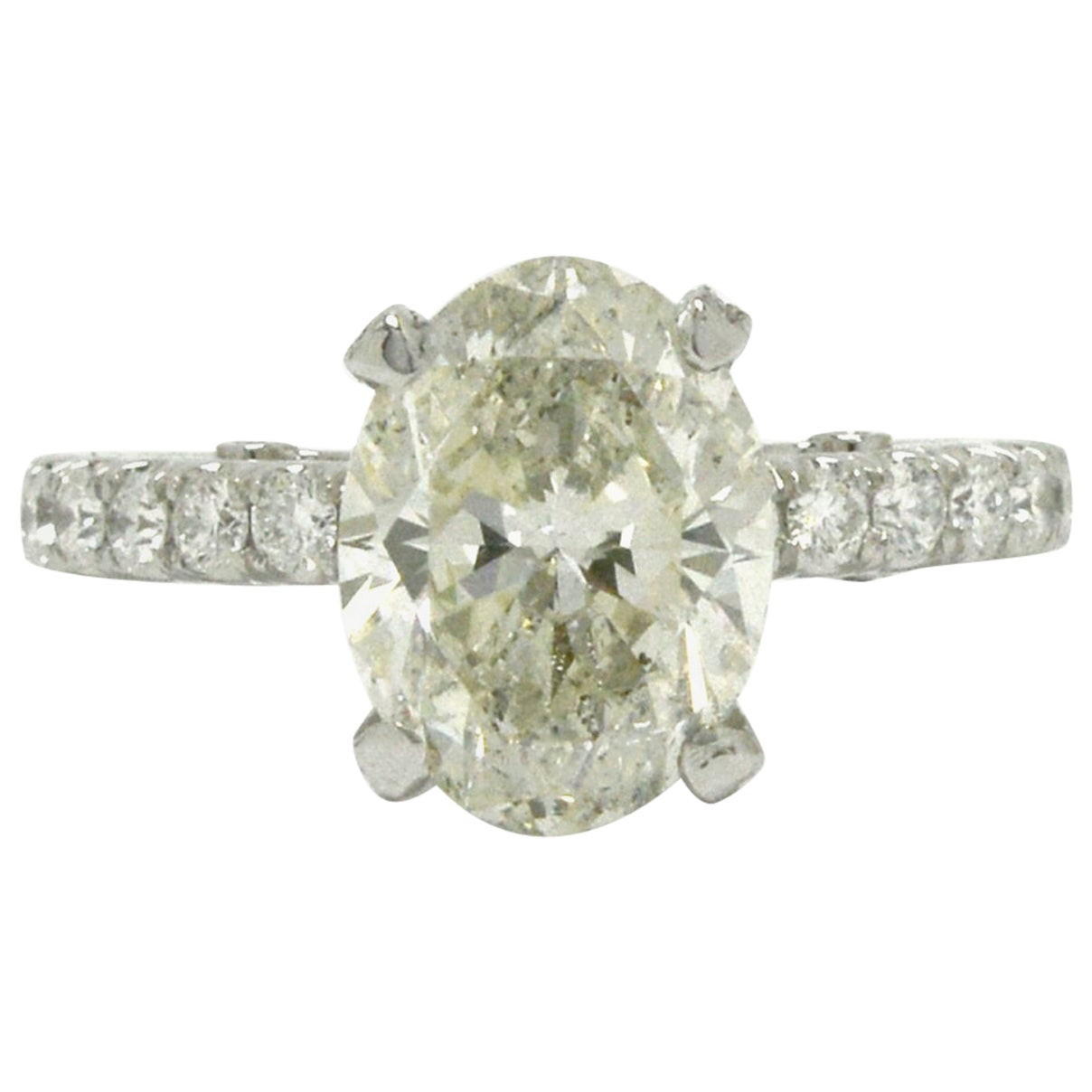 Certified Over 3 Carat Oval Diamond Solitaire Engagement Ring Platinum Band