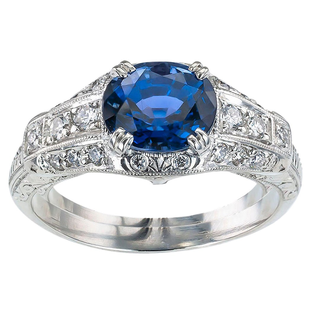 Estate Sapphire Diamond Platinum Engagement Ring