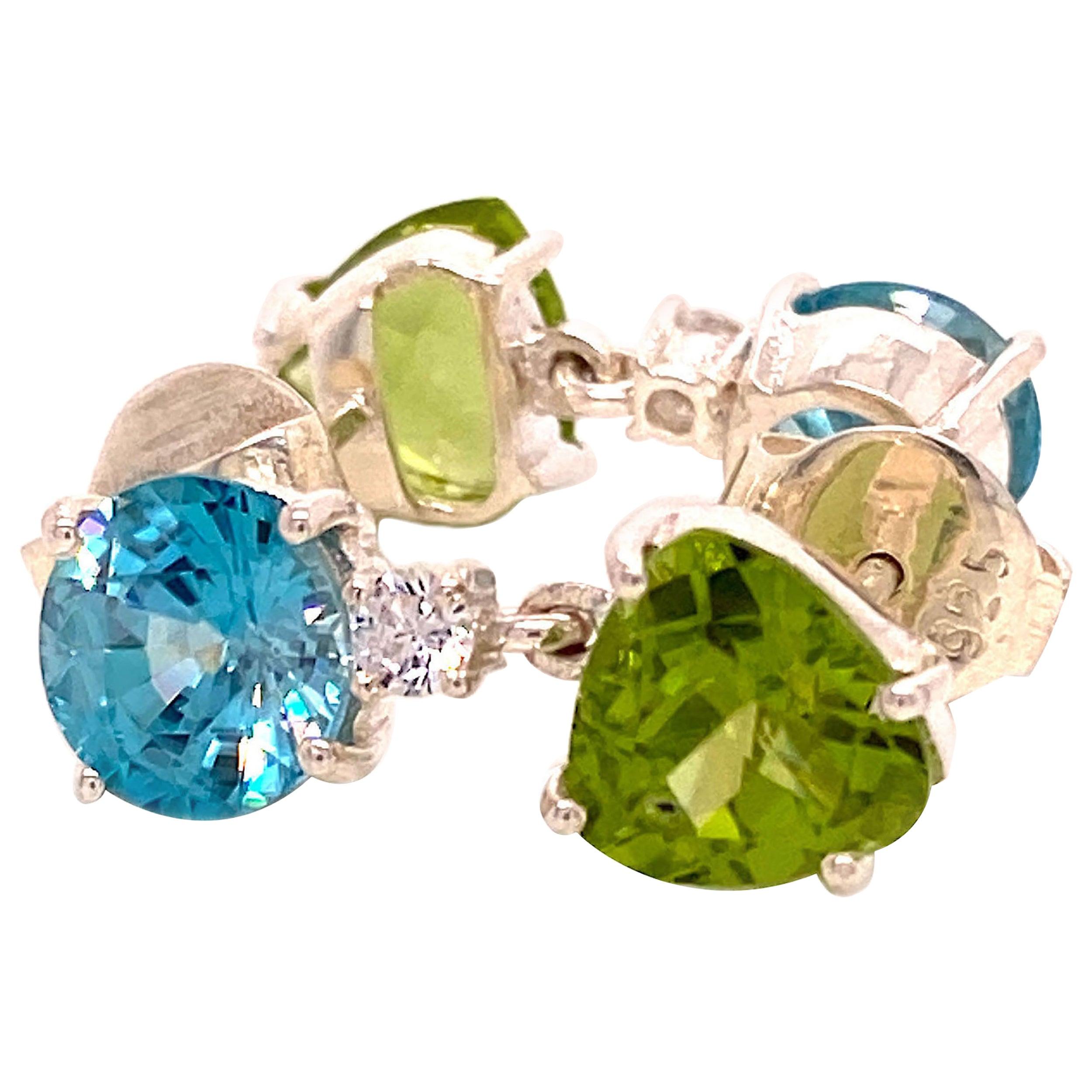 Gemjunky Scintillating Blue and Green Gemstone Dangle Earrings