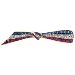 French, Tri-Color Tied Ribbon Brooch