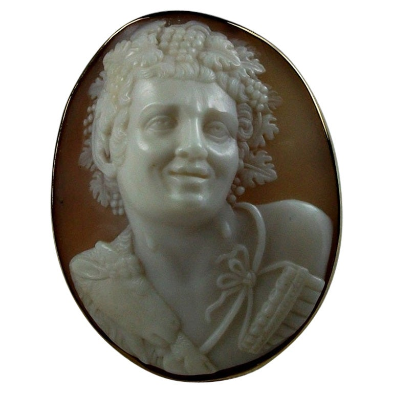 Antique Victorian Front Face God Pan Shell Cameo Brooch
