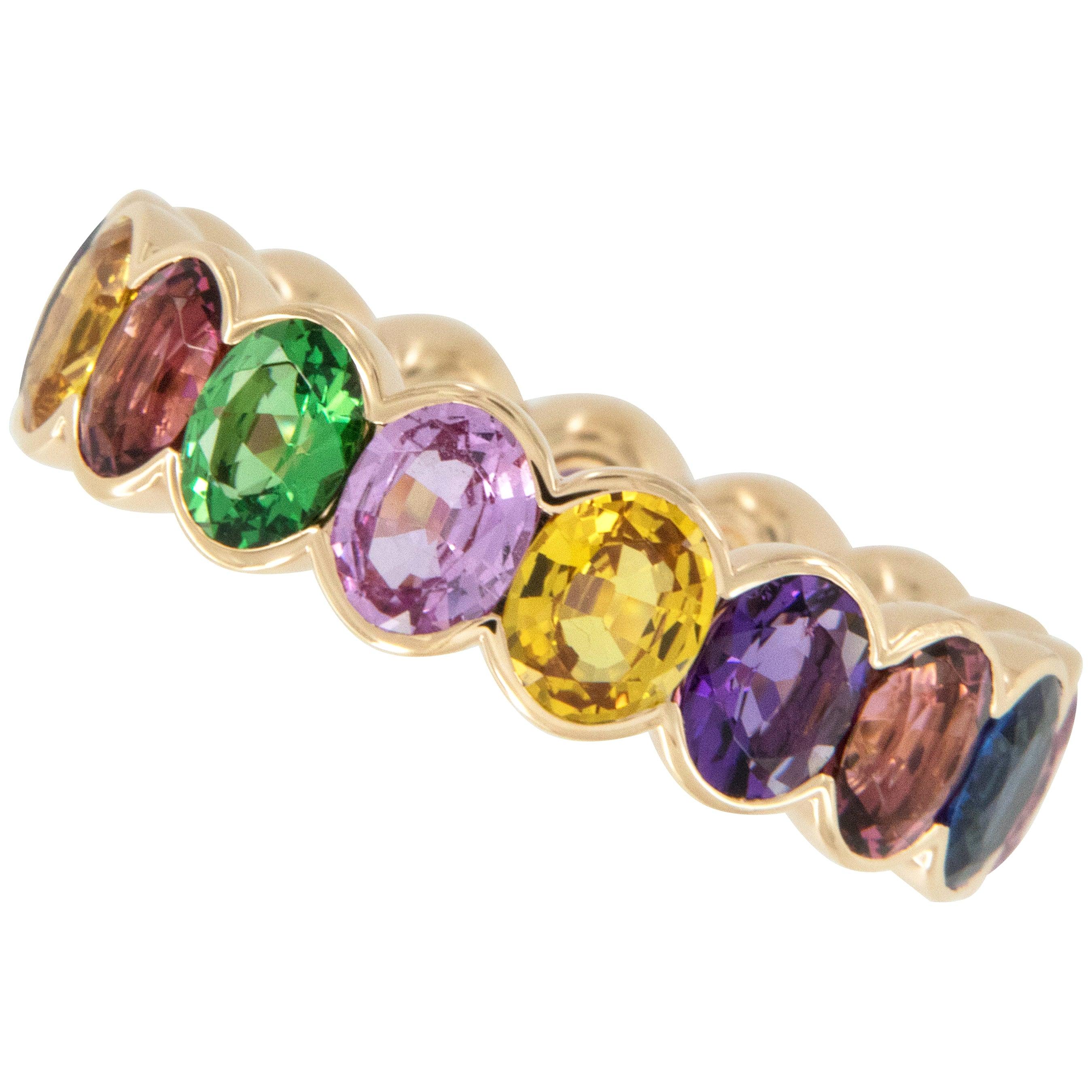 18 Karat Rose Gold Multicolored Sapphire, Tsavorite and Rubelite Eternity Ring