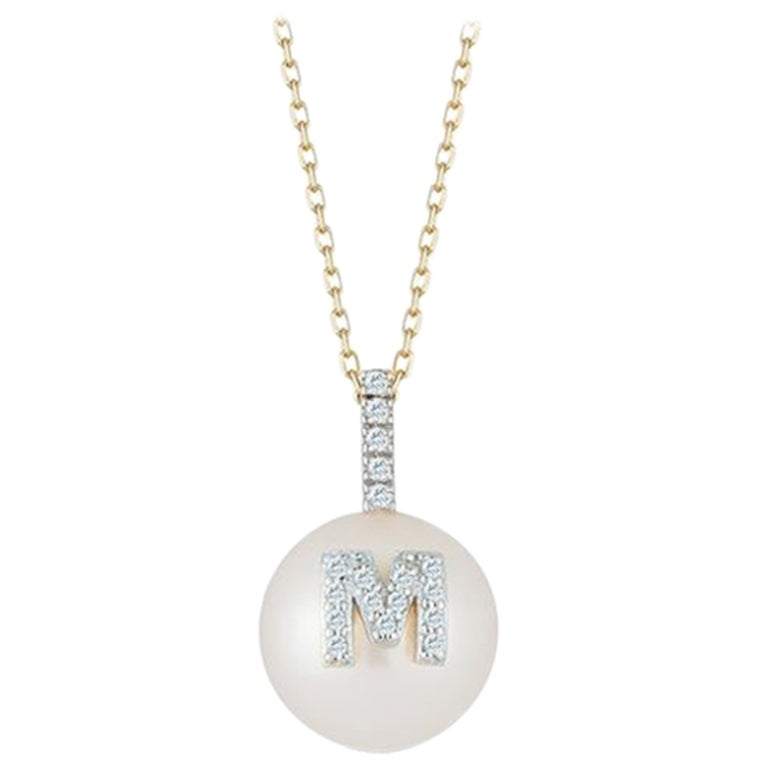 14 Karat Gold Initial Pearl Necklace