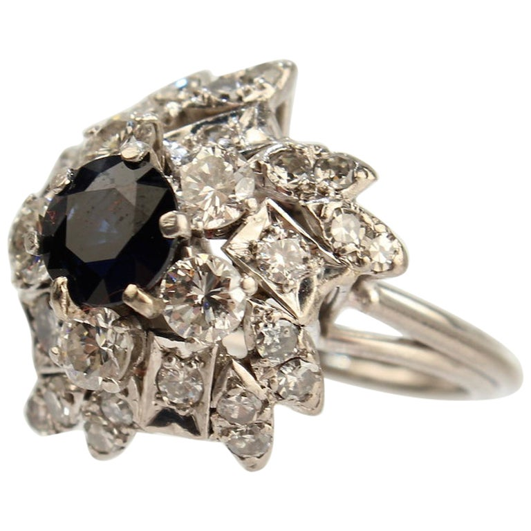 Retro Sapphire, Diamond and Platinum Cluster Cocktail Ring