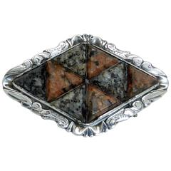 Victorian Sterling Silver-Mounted Slate Backed Scottish Agate Brooch