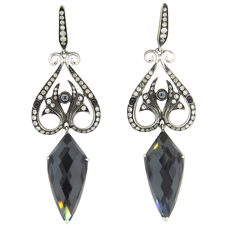 stephen webster hematite quartz gold drop earrings