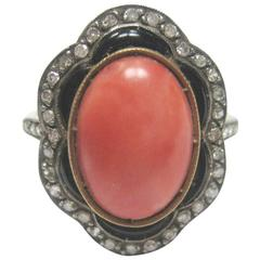 Art Deco Coral Onyx Diamond Ring