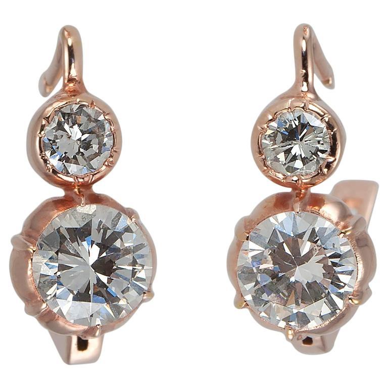 Contemporary Diamond Gold drop Earrings
