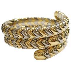 Bulgari Spiga stainless Steel gold snake bracelet