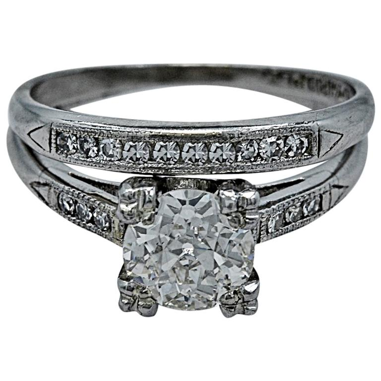 Art Deco 85 Carat Diamond Platinum Engagement Ring Wedding Set At 1stdibs