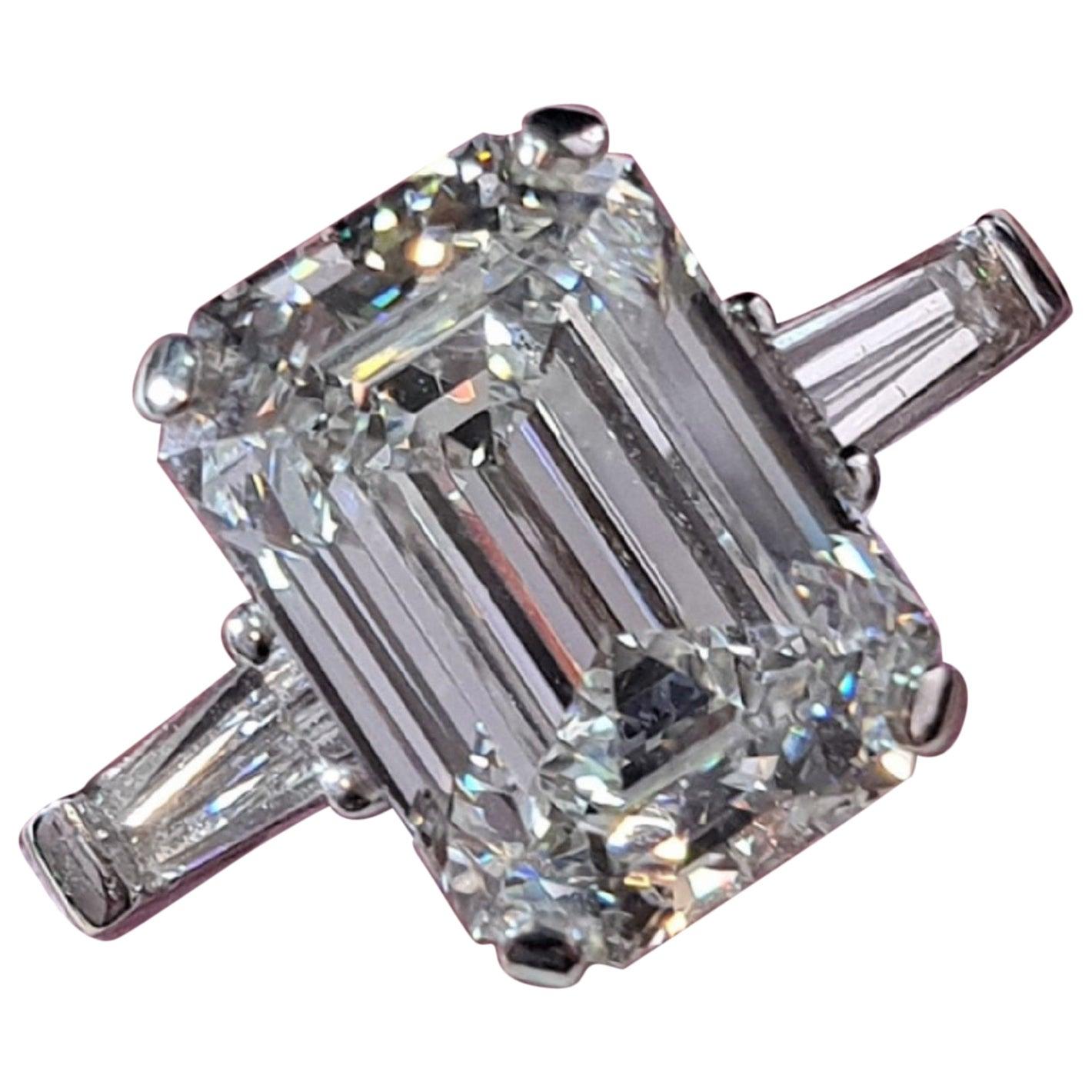 Internally Flawless D Color GIA Certified 2.70 Carat Emerald Cut Diamond