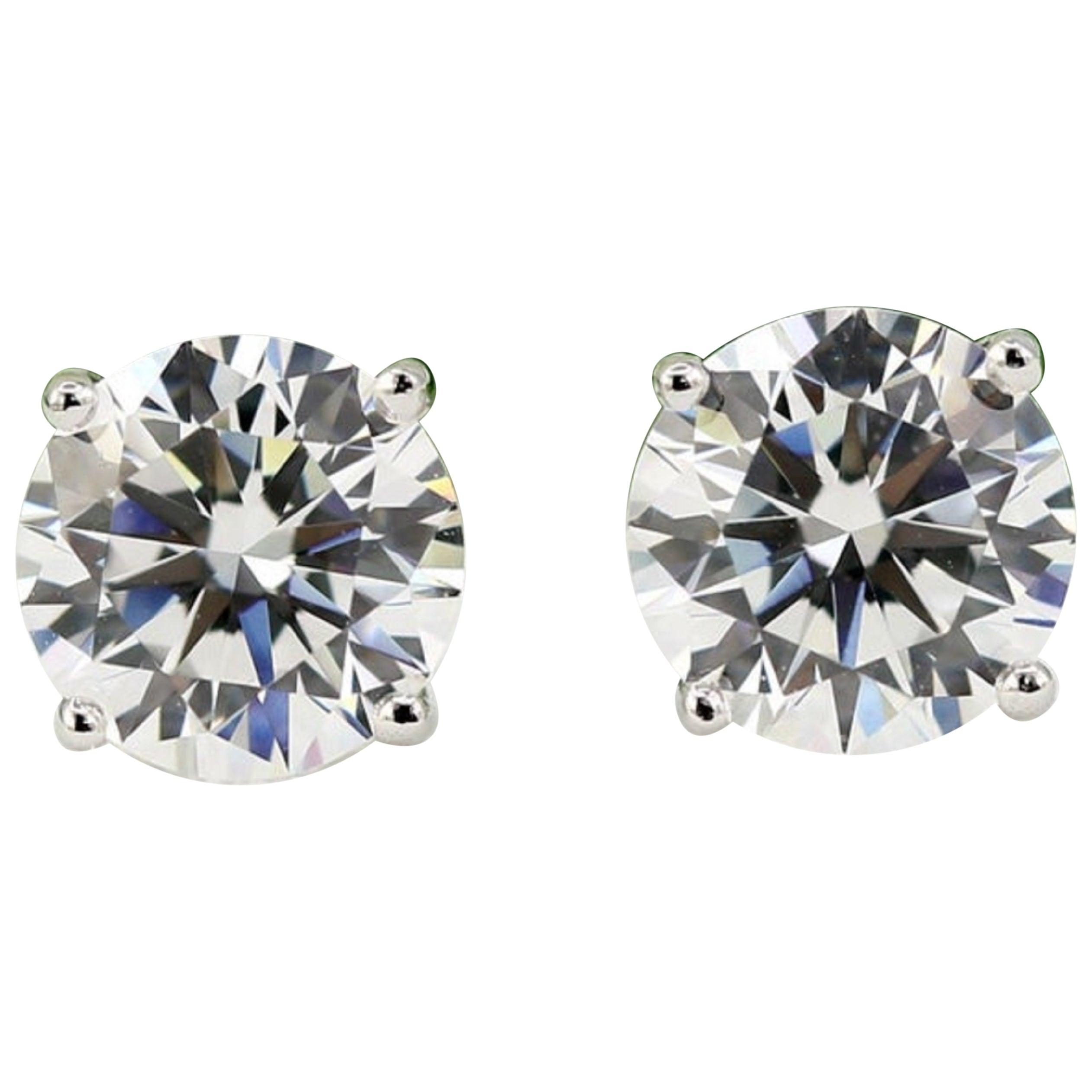 GIA Certified 3.03 Carat Brilliant Cut Diamond Studs I Color VS2/SI1 Clarity