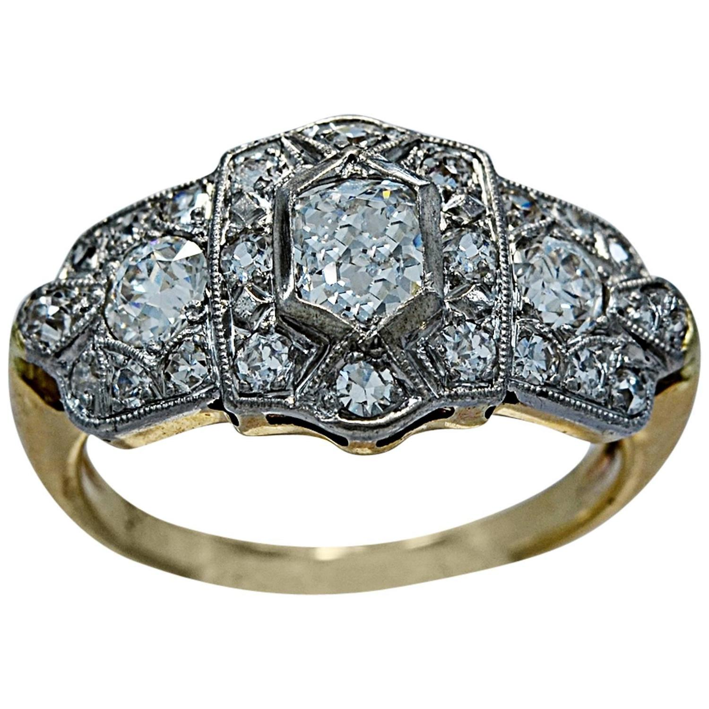 deco 50 carat gold platinum engagement ring