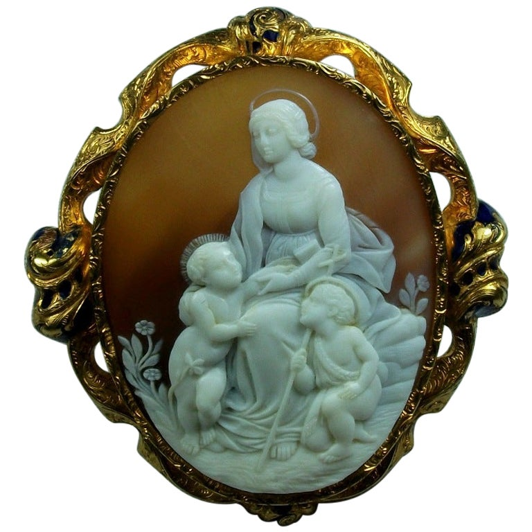 Antique Victorian Madonna and Child after Raphael Shell Cameo Brooch