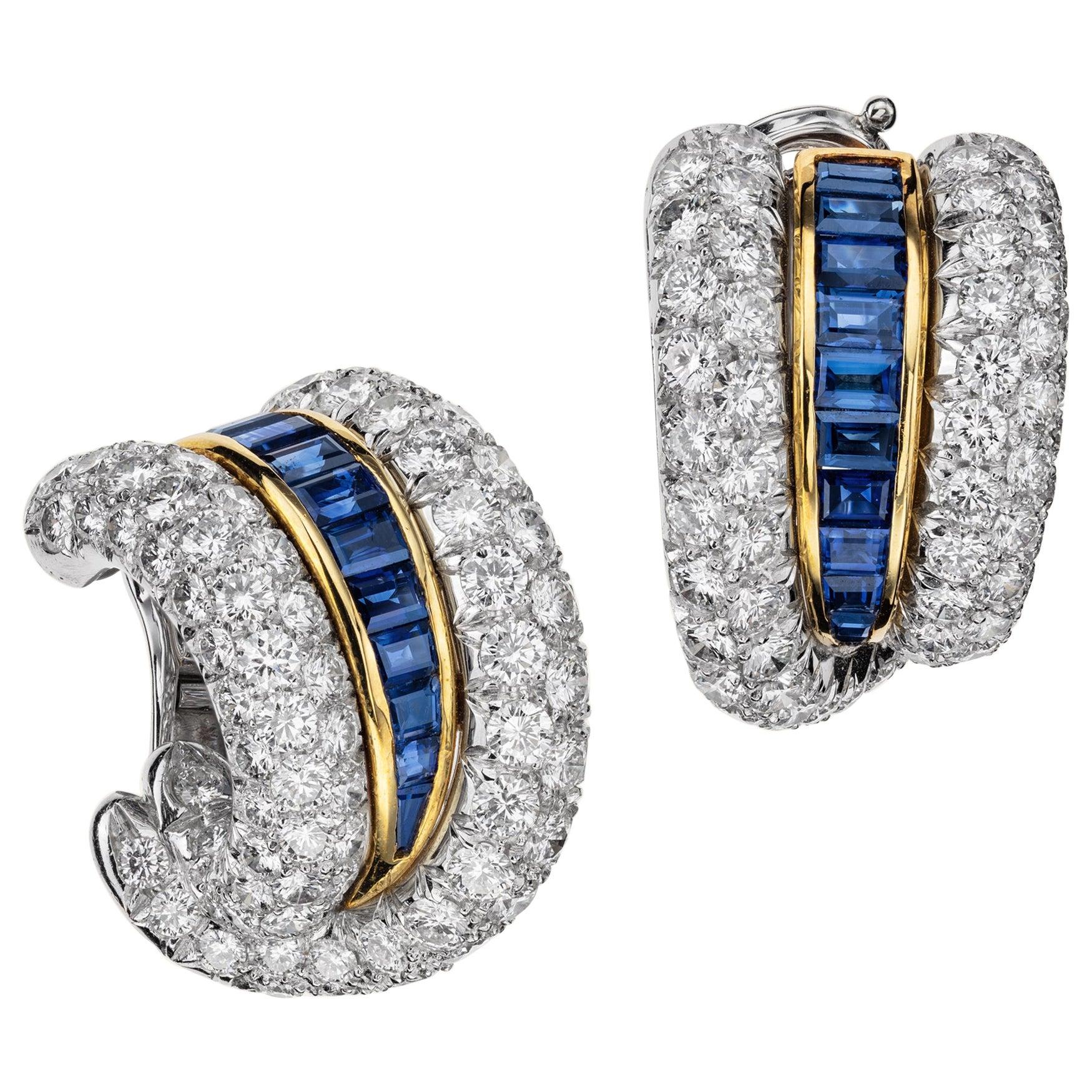 Sabbadini Platinum and Diamond Earrings with Blue Sapphires