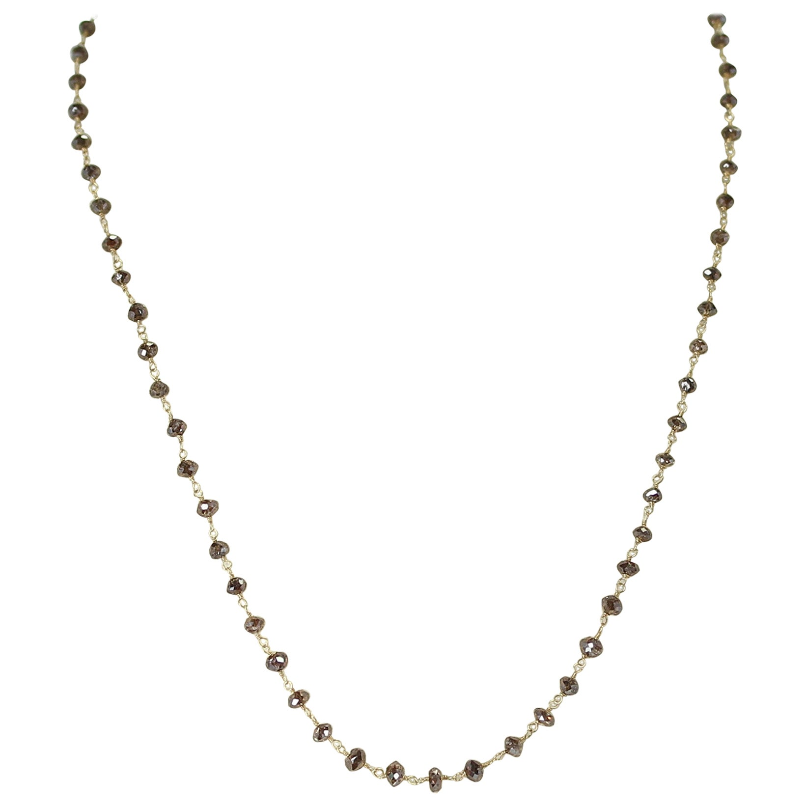 Genuine Champagne Diamond Beads Wire-Wrapped Necklace, 18 Karat Yellow Gold