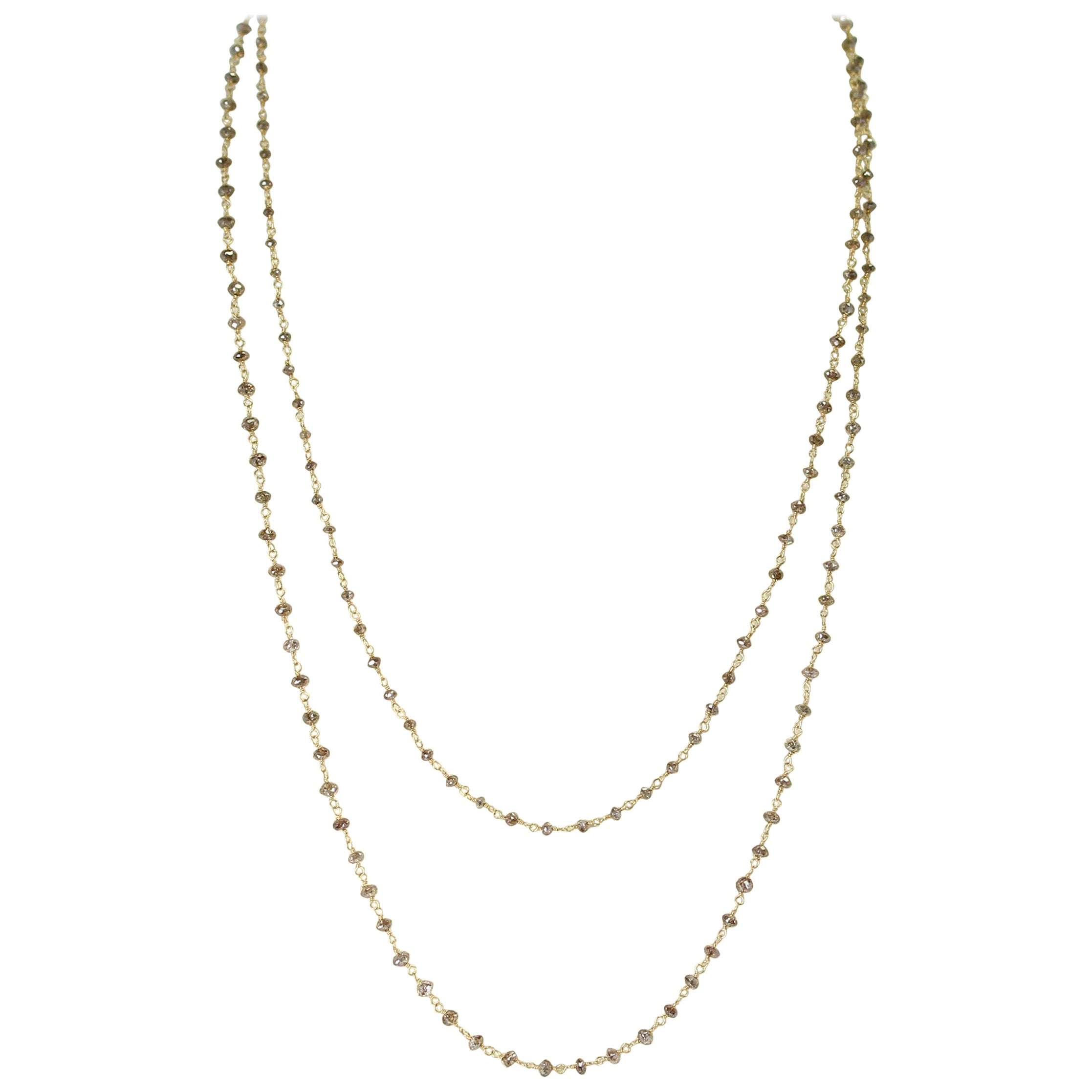Genuine Champagne Diamond Beads Wire-Wrapped Necklace, 18 Karat Yellow