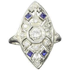 1800s Sapphire Diamond Gold Ring