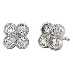 Valentin Magro White Gold Diamond Clover Earrings