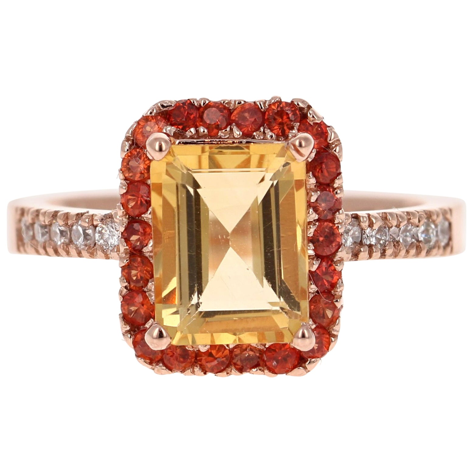 2.91 Carat Emerald Cut Citrine, Sapphire Diamond 14 Karat Gold Engagement Ring