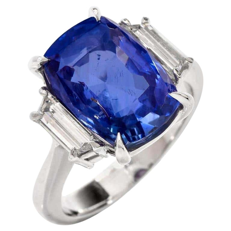 Large 9.07 Carat Natural Sapphire No Heat Ceylon Diamond Platinum Ring