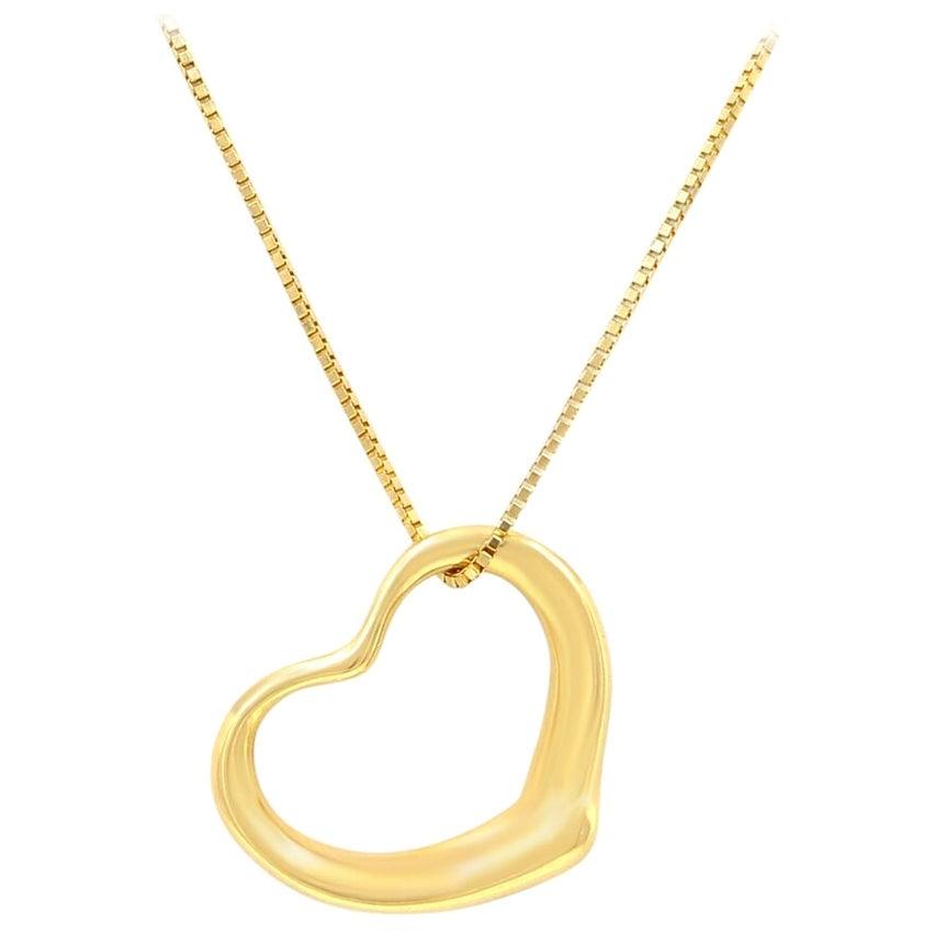 Tiffany & Co. 18 Karat Yellow Gold Open Heart Elsa Peretti Pendant and Chain