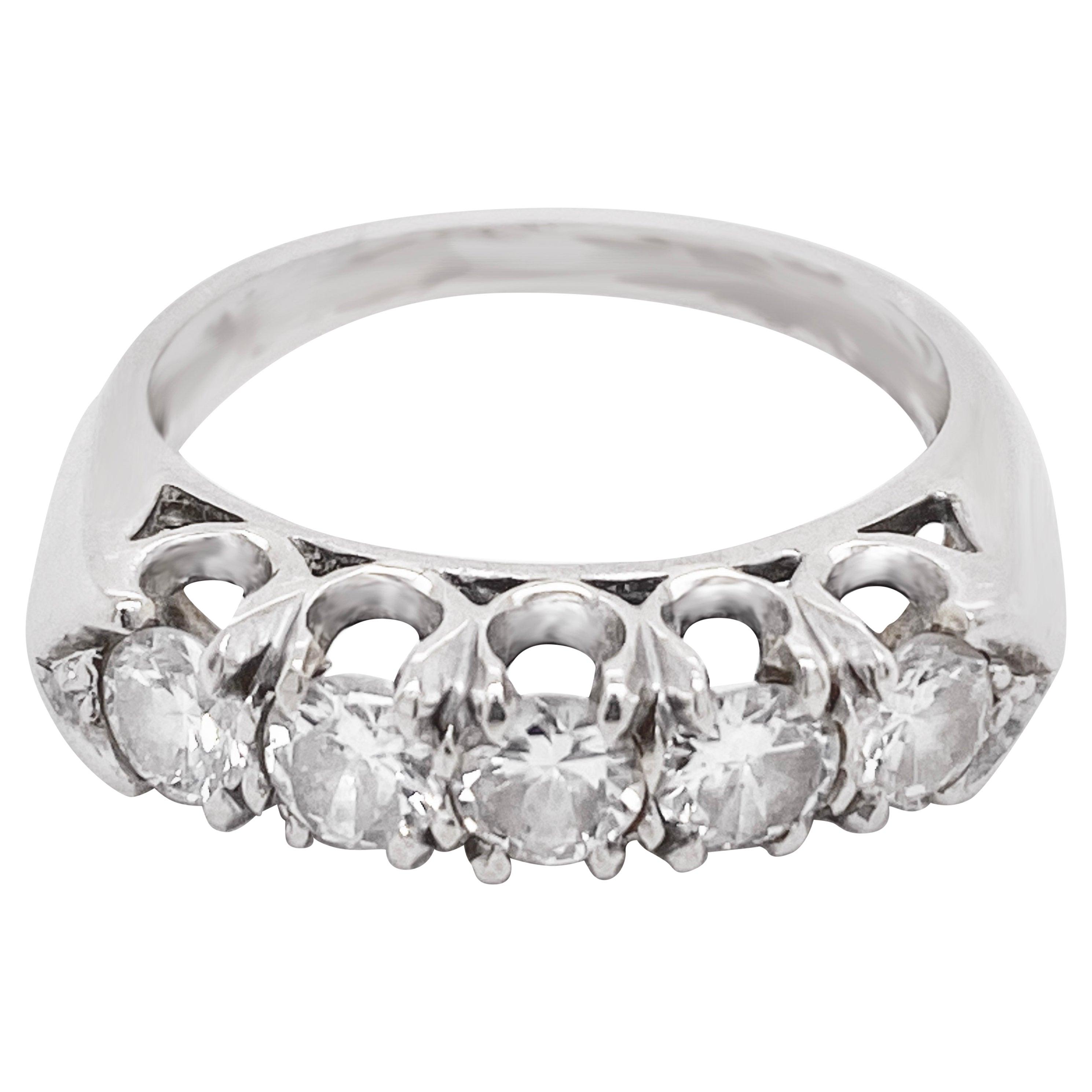 Diamond Band Ring, 14 Karat White Gold, Wedding, Fashion