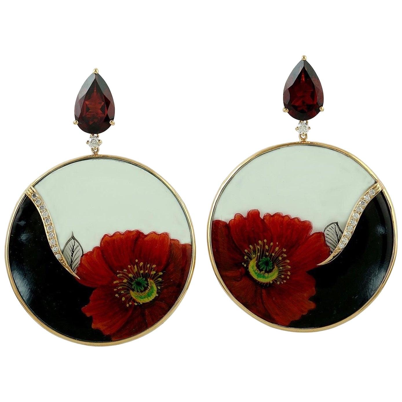 Enamel Hand Painted Garnet Diamond Flower Earrings