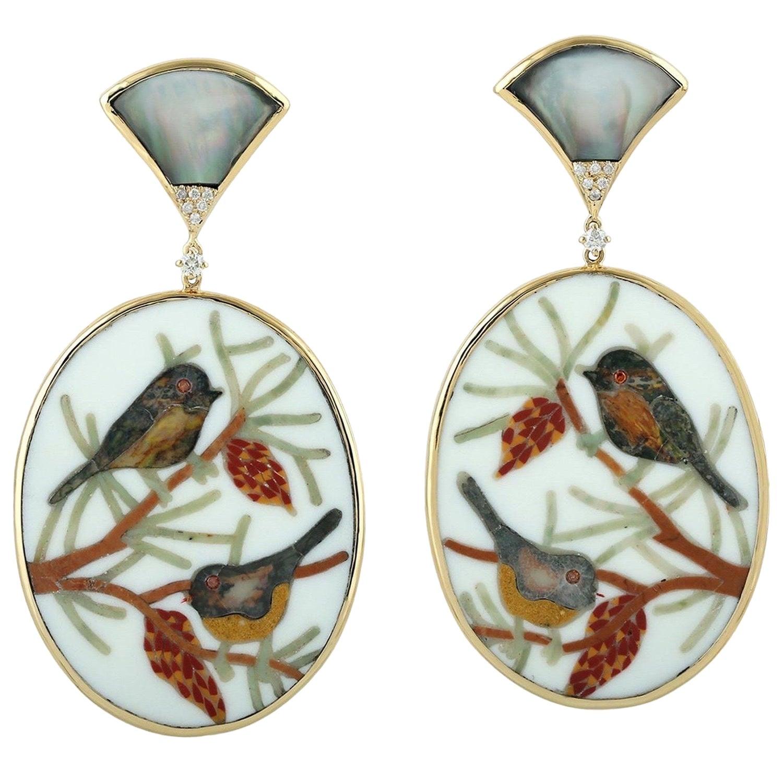Enamel Hand Painted Mother of Pearl Diamond Sparrow Earrings