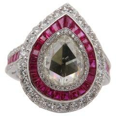 1.89 Carat Pear Shaped Diamond and Ruby 18 Karat Ring