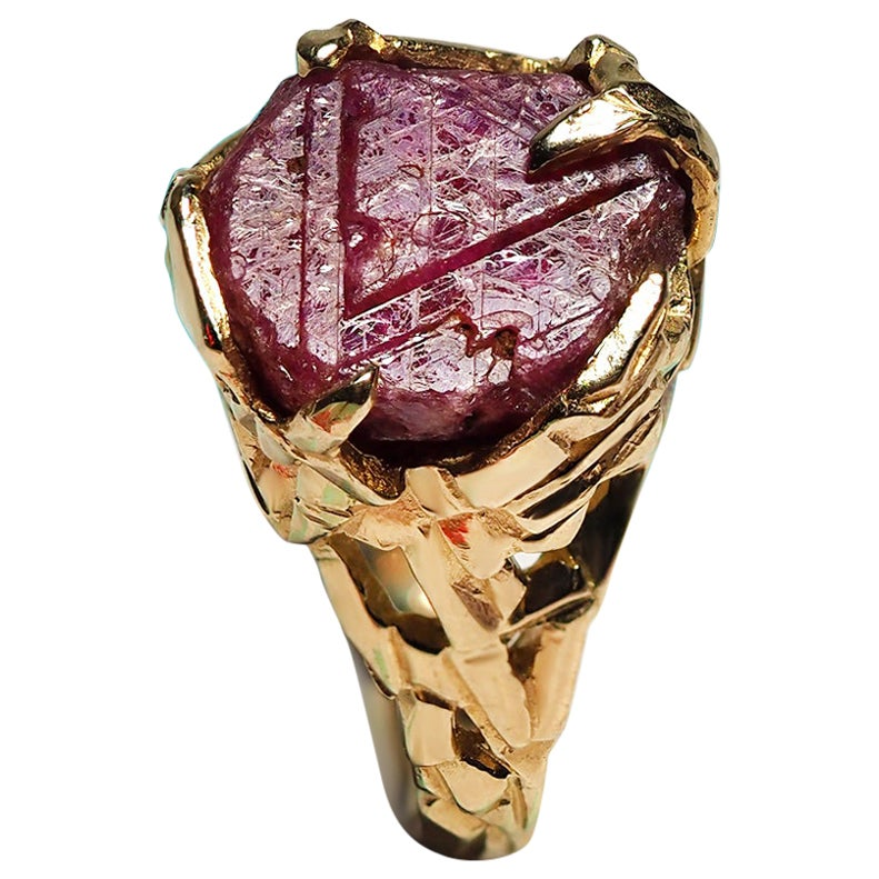 Raw Ruby Ring Crystal Gold Gemstone Unisex Jewelry Mens Natural Red Burmese Ruby