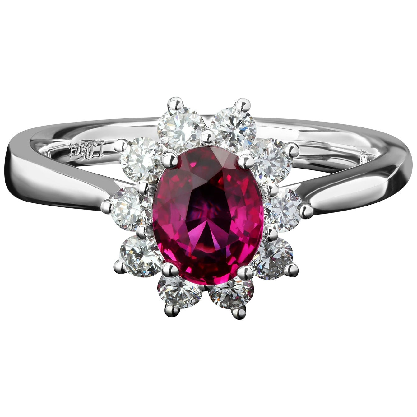 Ring Burmese Unheated Ruby Diamond Gold Ring 18 Karat White Gold Christmas