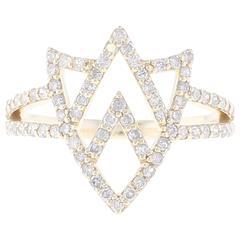 Insignia Chevron Shield Diamond and Gold Ring