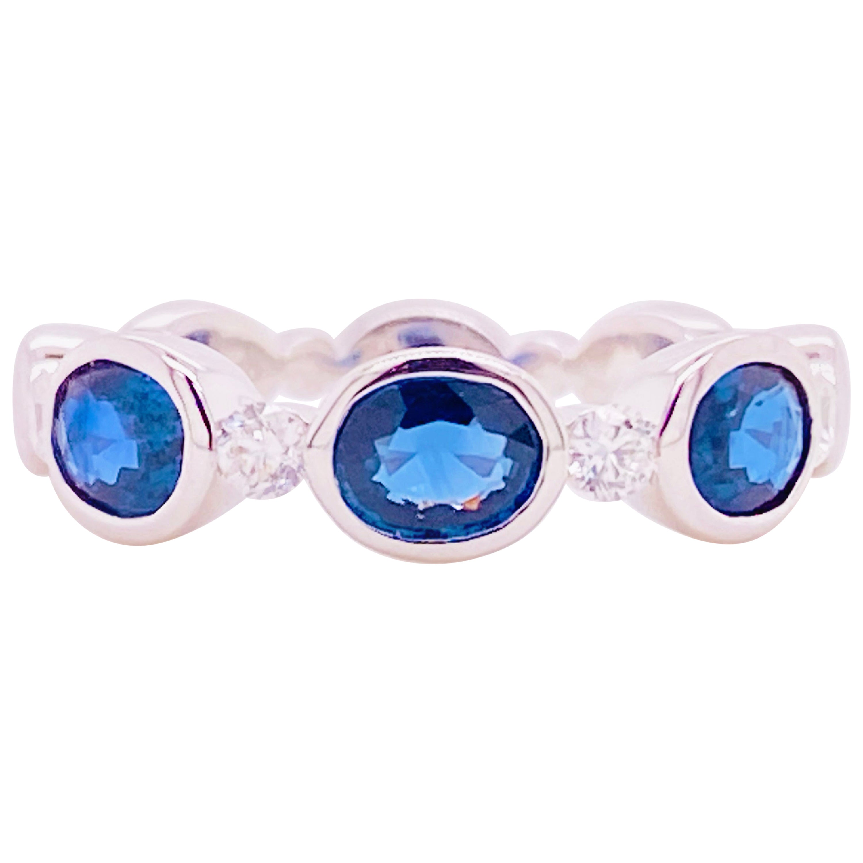 Sapphire Diamond Ring, Blue Sapphire, 14 Karat White Gold, Stackable Bezel Band