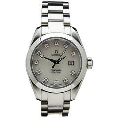 Omega Lady's Stainless Steel Diamond Seamaster Wristwatch