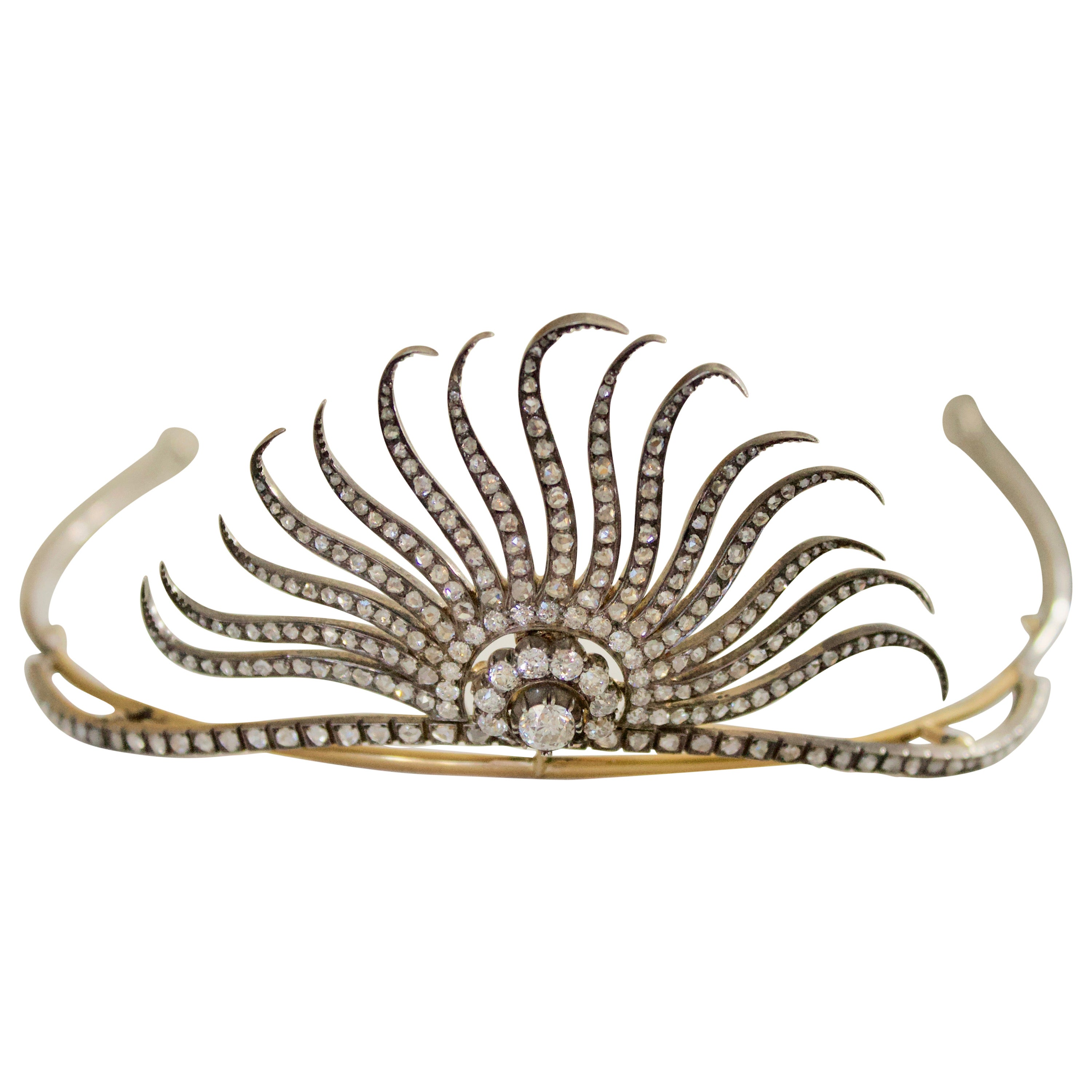 Diamond Tiara in Yellow Gold and Silver 7.10 Carat circa 1890 for Royalty Only